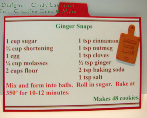 CC&M Apron Recipe Album Ginger Snap Recipe