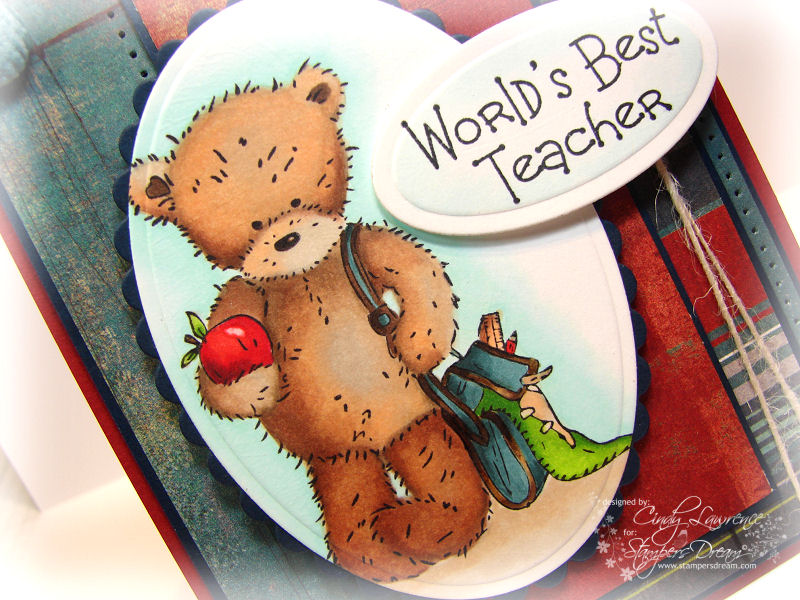 Crafters Companion School Days Popcorn Bear 1 Close Up - OHS