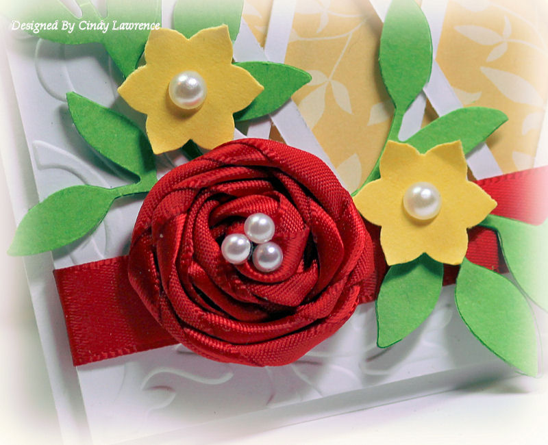 Rolled Ribbon Flower Card Close Up - OHS
